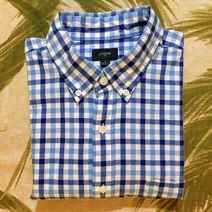 J. Crew Blue Plaid Button Dress Shirt Size M